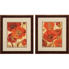 Scripted Beauty 2 Piece Framed Wall Art Set in Red