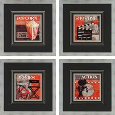 Show Time by Smith 4 Piece Framed Vintage Advertisement Set