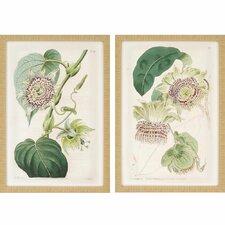 Antique Flowers 2 Piece Framed Painting Print Set