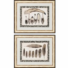 Vintage Feathers 2 Piece Framed Painting Print Set