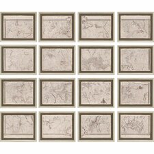 Map of London Grid 16 Piece Framed Graphic Art Set