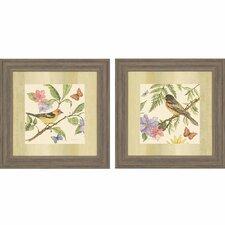 Flora and Fauna I 2 Piece Framed Painting Print Set