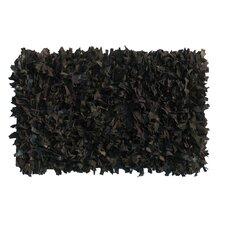 Thalassa Premium Leather Dark Black Rug