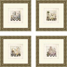 Bath Salon de Bain Framed Painting Print (Set of 4)