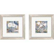 Floral Cottage Roses Framed Painting Print (Set of 2)