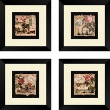 4 Piece Floral Travel Postcards Wall Art Set