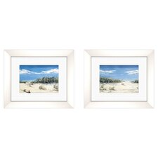 Coastal Beach with a View Framed Painting Print (Set of 2)