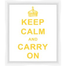 Keep Calm and Carry On Giclée Framed Textual Art in Yellow