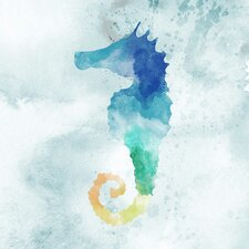 Water Color Seahorse with Glass Coat Graphic Art on Wrapped Canvas