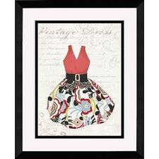 Vintage Dress Framed Graphic Art in Red