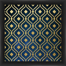 Gold On Blue Giclee Print Framed Graphic Art