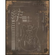 Electric Guitar Giclee Print Framed Graphic Art