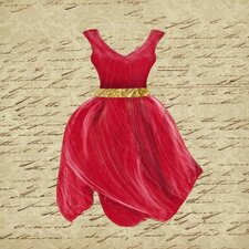 Crimson Tulip Dress I Framed Graphic Art on Canvas