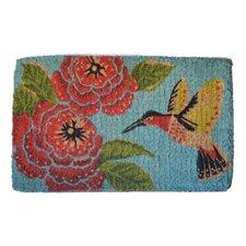 Woven Hummingbird and Flower Mat