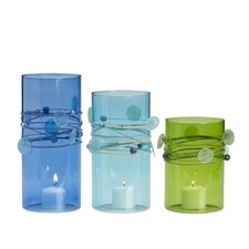3-Piece Capiz Hurricane Candleholder Set