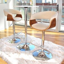 Vintage Adjustable Height Swivel Bar Stool with Cushion