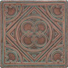 """Castle Metals 4-1/4"""" x 4-1/4"""" Clover Decorative Wall Tile in Aged Copper"""