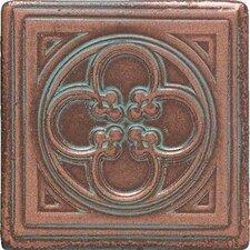 "Castle Metals 2"" x 2"" Clover Dot Decorative Accent Tile in Aged Copper"