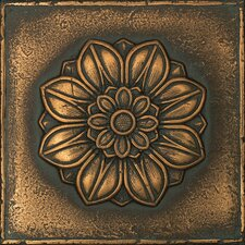 """Metal Signatures Rosette Pointed 6"""" x 6"""" Decorative Tile in Aged Bronze"""