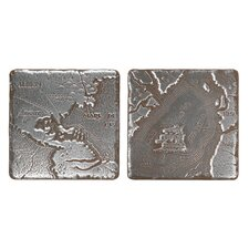"""Metal Signatures Map Tumbled Stone 4"""" x 4"""" Decorative Tile in Aged Iron (Set of 2)"""