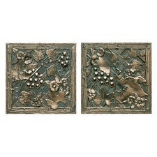 "Metal Signatures Trellis 6"" x 6"" Decorative Tile in Aged Bronze (Set of 2)"