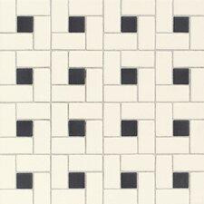 Keystones Blends Random Sized Ceramic Mosaic Tile in Cream/Black