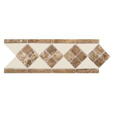 "Fashion Accents 12"" x 4"" Decorative Listello in Almond/Noce/Tumbled Stone"