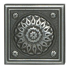 """Metal Ages 2"""" x 2"""" Baroque Glazed Decorative Tile Insert in Polished Pewter"""