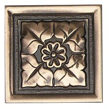 """Metal Ages 2"""" x 2"""" Romanesque Glazed Decorative Tile Insert in Polished Bronze"""