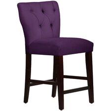 "Velvet Tufted Hourglass 26"" Bar Stool with Cushion"