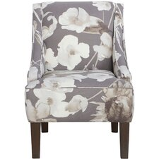 Swoop Cotton Upholstered Arm Chair in Grey & White