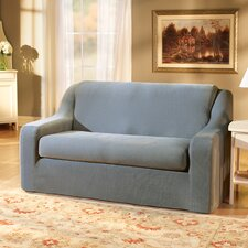 Stretch Pique Separate Seat Loveseat Slipcover