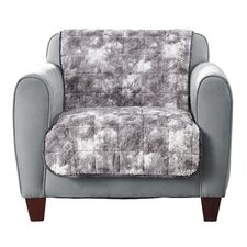 Faux Fur Quilted Armchair Slipcover