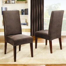 Stretch Leather Collection Short Dining Chair Slipcover