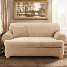Stretch Stripe Two Piece Sofa Slipcover in Sand (T-Cushion)