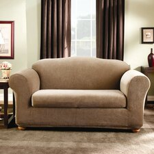 Stretch Stripe Two Piece Loveseat Slipcover in Brown (Box Cushion)