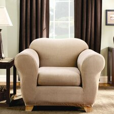 Stretch Stripe Two Piece Chair Slipcover in Sand (Box Cushion)