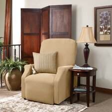 Stretch Pique Large Recliner Slipcover in Cream