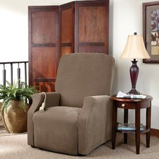 Stretch Pique Large Recliner Slipcover in Taupe