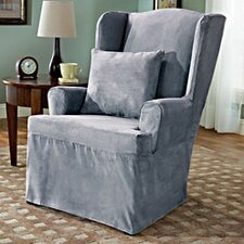 Soft Suede Wing Chair Slipcover