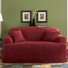 Soft Suede Sofa T-Cushion Slipcover