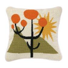 Calico Needlepoint Wool Throw Pillow