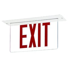 Single Edge Recessed LED Exit Sign Light in Red