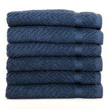 Luxury Hotel & Spa Herringbone Weave 100% Turkish Cotton Wash Cloth (Set of 6)