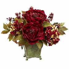 Peony and Hydrangea Silk Flower Arrangement in Rustic Green Bucket