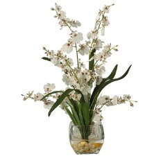 Liquid Illusion Silk White Orchids in Vase