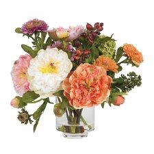 Silk Peony with Vase