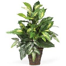 Silk Mixed Greens Floor Plant in Decorative Vase