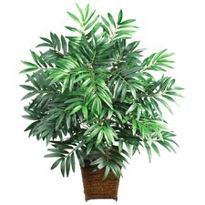 Silk Bamboo Palm Floor Plant in Decorative Vase