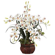 Silk Cymbidium in White with Decorative Vase
